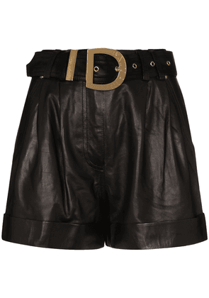 Balmain high-waisted belted leather shorts - Black