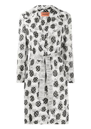 Missoni abstract-pattern belted coat - White