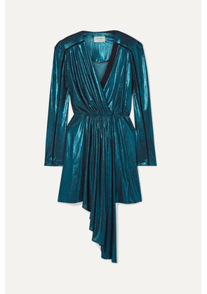 Zeus+Dione - Lysia Wrap-effect Draped Stretch-lamé And Silk-crepe Mini Dress - Turquoise