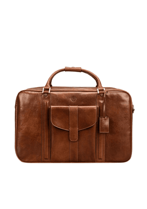 Maxwell Scott Bags Premium Quality Tan Leather Suitcase For Men
