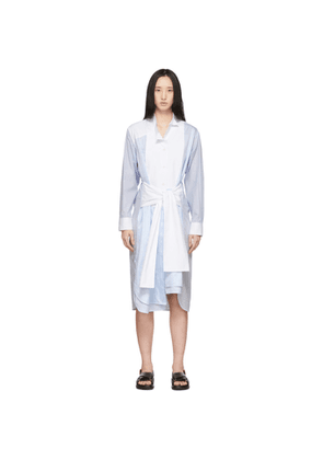 Loewe Blue and White Striped Belted Shirt Dress