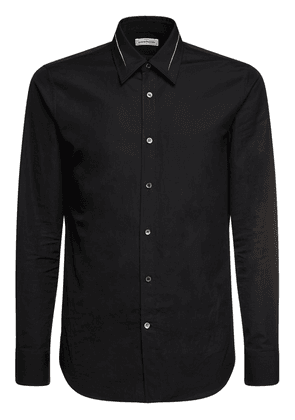 Slashed Details Cotton Poplin Shirt