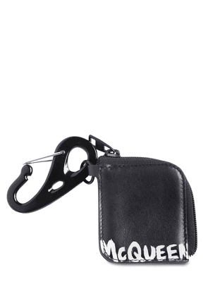 Logo Print Leather Zip Pouch