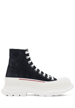 High Top Leather Lace-up Sneakers