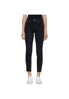 Re/Done Black 90s High-Rise Ankle Crop Jeans