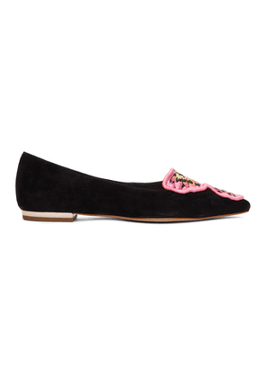 Sophia Webster Black and Multicolor Suede Bibi Butterfly Flats
