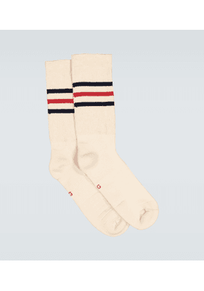 Striped cotton socks with logo