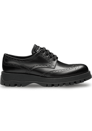 Prada Leather derby shoes with rubber sole - Black