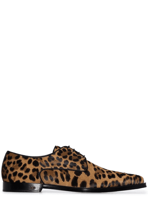 Dolce & Gabbana Millenials leopard print pony hair shoes - Brown