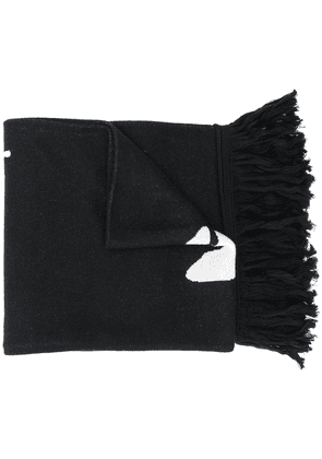Off-White intarsia logo knit scarf - Black