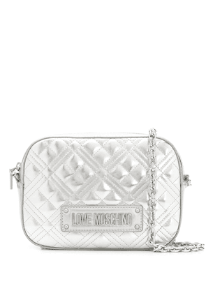 Love Moschino New Shiny quilted crossbody bag - SILVER