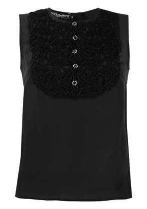 Dolce & Gabbana textured bib blouse - Black