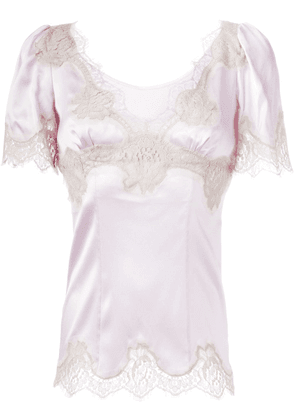 Dolce & Gabbana lace trim top - PINK