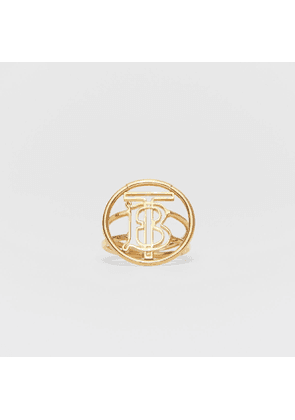 Burberry Large Gold-plated Monogram Motif Ring, Yellow