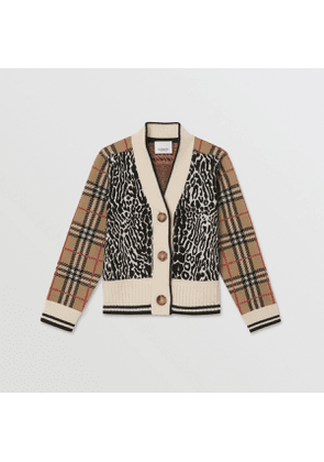 Burberry Childrens Check and Leopard Merino Wool Jacquard Cardigan, Orange