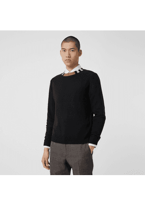Burberry Icon Stripe Trim Cashmere Sweater, Black