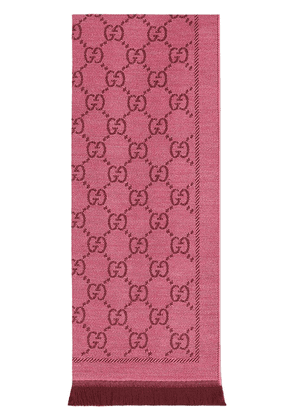 Gucci GG jacquard pattern knitted scarf - PINK