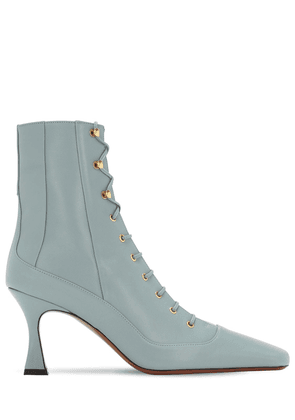 80mm Lace-up Leather Ankle Boots