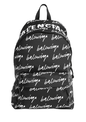 Logo Scribble Print Nylon Backpack