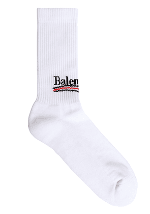 Logo Intarsia Stretch Cotton Socks