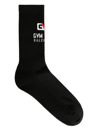 Logo Gym Intarsia Stretch Cotton Socks