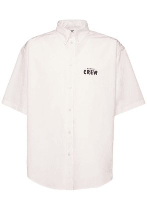 Logo Crew Print Cotton Poplin Shirt