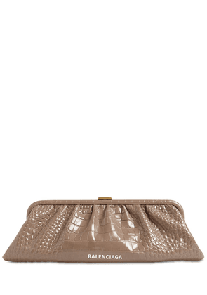 Xl Cloud Croc Embossed Leather Clutch