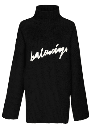 Logo Embroidery Knit Turtleneck Sweater