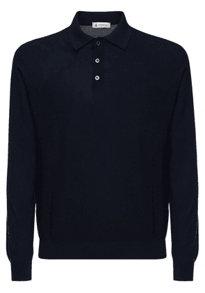 Wool Blend Crepe Knit Polo