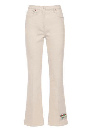 Flared Stretch Cotton Drill Jeans
