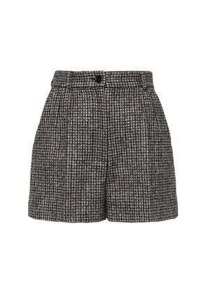 Wool Blend Houndstooth Shorts