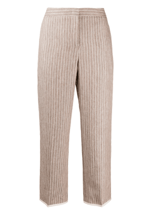 Fabiana Filippi pleat detail striped cropped trousers - NEUTRALS