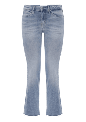 Mid Rise Cropped Flared Jeans