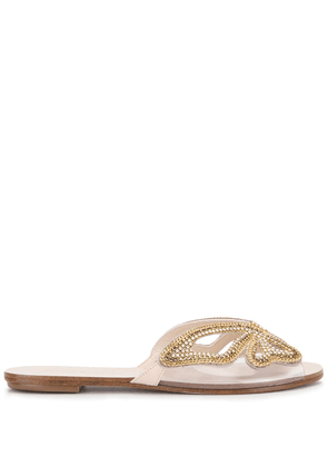 Sophia Webster Madame Butterfly crystal slides - GOLD
