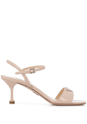 Prada logo plaque sandals - Neutrals