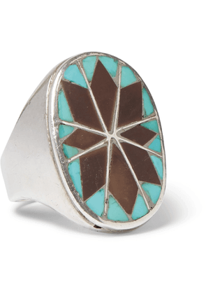 Foundwell - 1970s Stering Silver, Turquoise and Agate Ring - Men - Silver