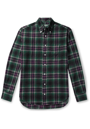 Gitman Vintage - Button-Down Collar Checked Brushed-Cotton Oxford Shirt - Men - Green