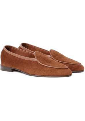George Cleverley - Hampton Leather-Trimmed Suede Loafers - Men - Brown
