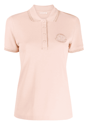 Moncler logo patch polo top - PINK