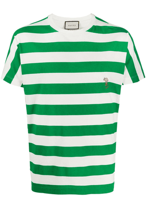 Gucci embroidered striped T-shirt - Green