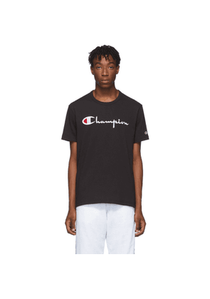 Champion Reverse Weave Black Big Script Logo T-Shirt