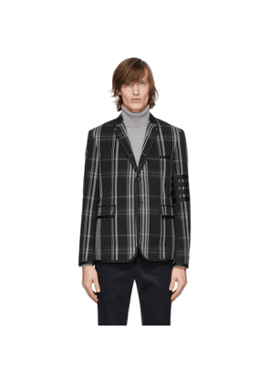 Thom Browne Black Seersucker Plaid Classic Blazer