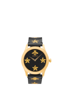 Gucci - G-timeless Bee And Star-print Leather Watch - Mens - Black Multi