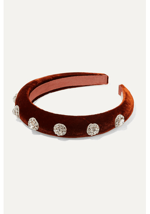 Jennifer Behr - Olina Crystal-embellished Velvet Headband - Red
