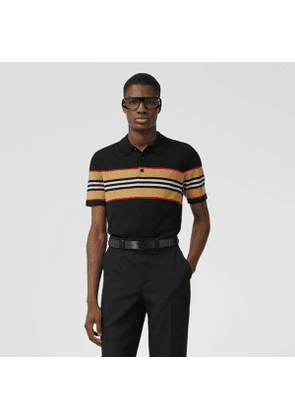 Burberry Icon Stripe Detail Merino Wool Polo Shirt, Black