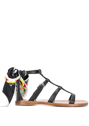 Prada scarf detail caged sandals - Black