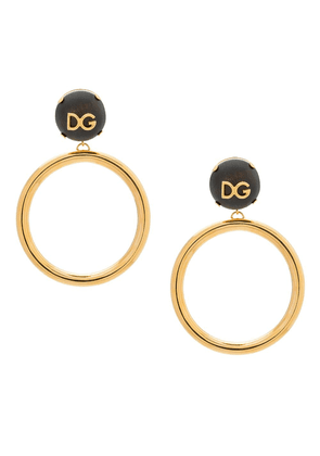 Dolce & Gabbana DG logo plaque hoop earrings - Metallic