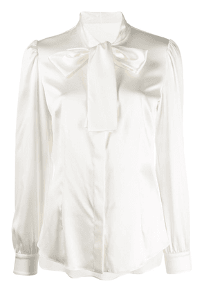 Dolce & Gabbana silk shirt with pussy-bow - White