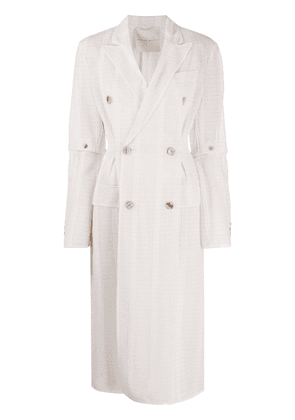Marco De Vincenzo double breasted woven striped coat - PINK