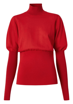 Burberry puff-sleeve high neck jumper - Red